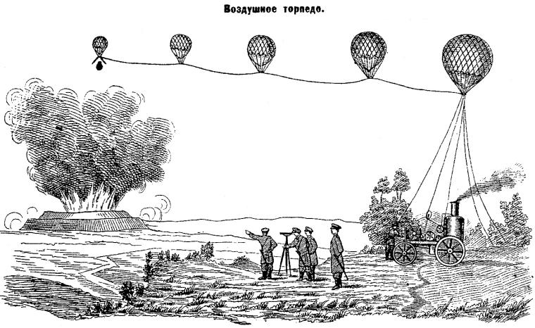 Бомбардировка с аэростата вражеской крепости. Проект О. С. Костовича. <br>