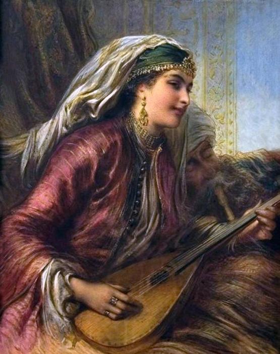 Кайна могла быть одета как госпожа, но открытое лицо выдавало в ней рабыню. Закрываться рабыням запрещал закон. Картина Э.С.Лундгрена.